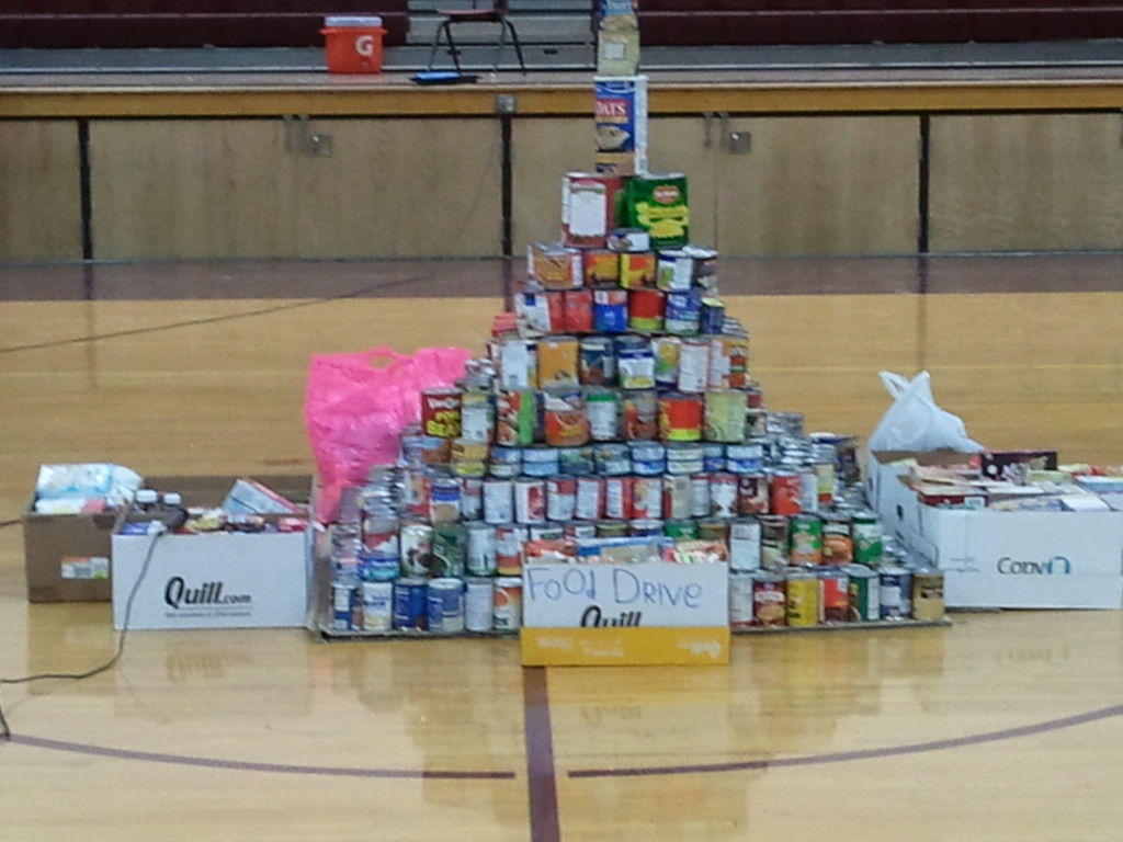 Building a can castle for a food drive is a fun way of making the fruits of your efforts clear to all.