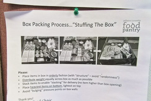 Directions on packing food