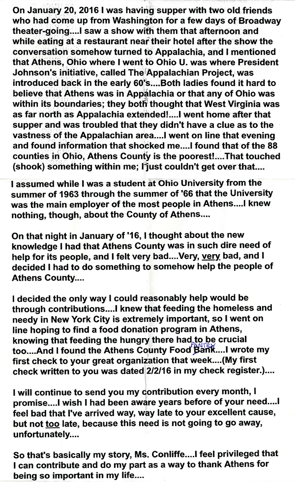Letter from Donor Tom in NYC