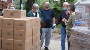 Receiving food at the pantry